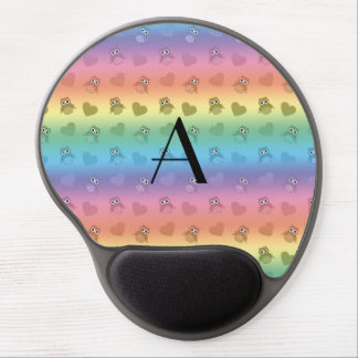 Monogram rainbow owls and hearts gel mouse mats