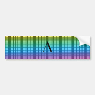 Monogram rainbow plaid bumper sticker