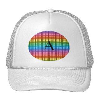Monogram rainbow plaid mesh hat