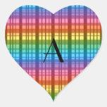 Monogram rainbow plaid heart stickers