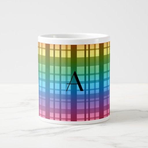 Monogram rainbow plaid jumbo mug