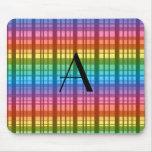 Monogram rainbow plaid mousepad