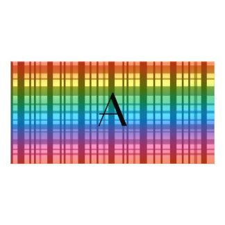 Monogram rainbow plaid photo greeting card