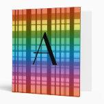 Monogram rainbow plaid vinyl binders