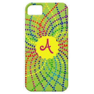 Monogram Rainbow Polka Dots Flower iPhone Case