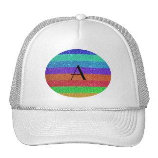 Monogram rainbow stripes glitter trucker hat