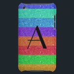 "Monogram rainbow stripes glitter iPod touch case<br><div class=""desc"">rainbow glitter stripes (faux glitter)  with pink,  red,  blue,  greem,  gold,  orange and monogram letter change to any letter a, b, c, d, e, f, g, h, i, j, k, l, m, n, o, p, q, r, s, t, u, v, w, x, y, z</div>"