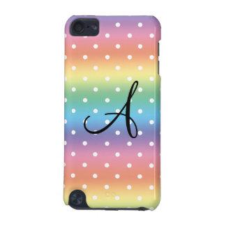 Monogram rainbow white polka dots iPod touch 5G cover