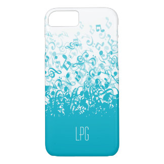 Monogram Raining Music Notes Aqua iPhone 7 Case