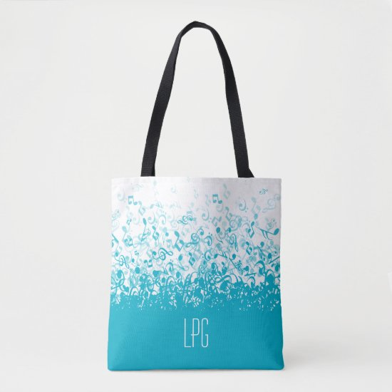 Monogram Raining Music Notes Aqua Tote Bag