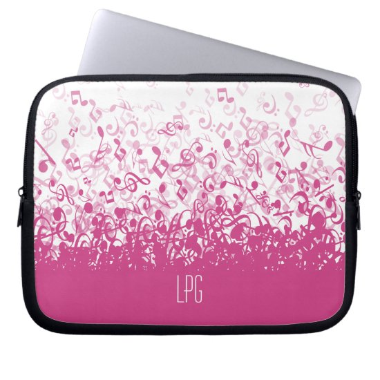 Monogram Raining Music Notes Fuchsia Pink Laptop Sleeve