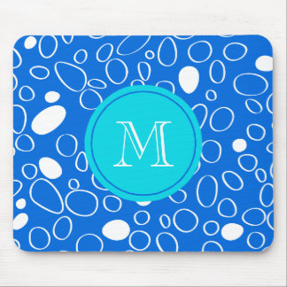 Monogram Random Big Dots Blue and White Pattern Mouse Pad
