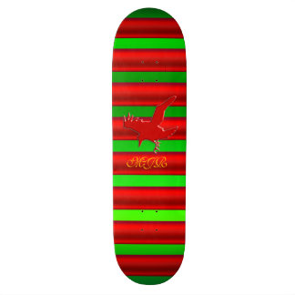 Monogram, Raven logo with red chrome-effect stripe Skate Decks