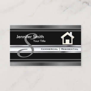Real estate agent business cards zazzle monogram real estate professional agent business card colourmoves