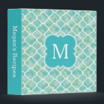 """Monogram Recipe Aqua Green Quatrefoil Pattern Binder<br><div class=""""desc"""">A trendy and modern monogram recipe binder with a pretty aqua turquoise blue,  green and white quatrefoil pattern. Customize the spine and add your monogram for a unique,  cute,  and trendy place to hold your favorite recipes. Makes a great gift for women who love to cook.</div>"""