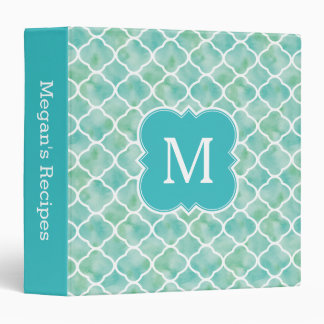 Monogram Recipe Aqua Green Quatrefoil Pattern Binder