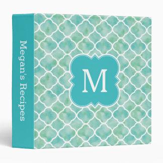 Monogram Recipe Aqua Green Quatrefoil Pattern Binder
