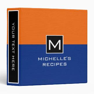 Monogram Recipe Modern Dark Blue Orange Binder
