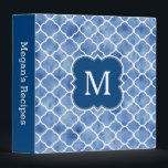 """Monogram Recipe Navy Blue Watercolor Pattern Binder<br><div class=""""desc"""">A cute and trendy monogram recipe binder with a modern navy blue and white watercolor quatrefoil pattern. Customize the spine and add your initial for a stylish and unique recipe holder.</div>"""