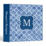 Monogram Recipe Navy Blue Watercolor Pattern Binder