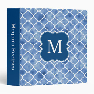 Monogram Recipe Navy Blue Watercolor Pattern Binder