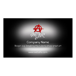 Monogram, Red Anarchy Sign, metallic-effect Business Card