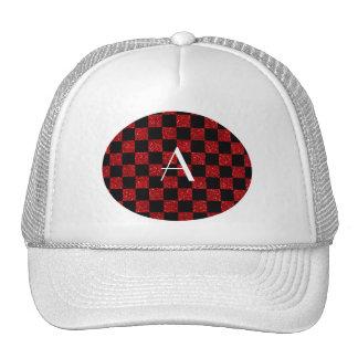 Monogram red and black glitter checkered trucker hat
