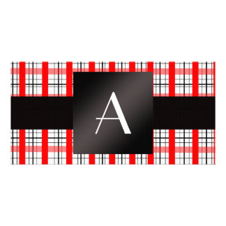 Monogram red and black plaid photo card template