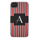 Monogram Red and black stripes iPhone 4 Case-Mate Case
