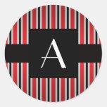 Monogram Red and black stripes Classic Round Sticker