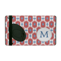 Monogram Red and Blue Ikat Pattern iPad Covers