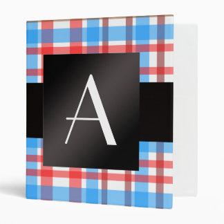 Monogram red and blue plaid vinyl binder