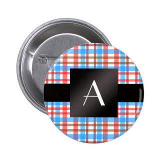 Monogram red and blue plaid pin