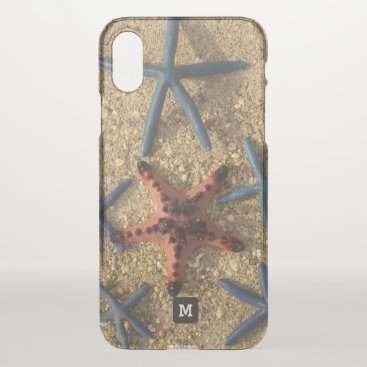 Beach Themed Monogram. Red and Blue Starfish on the Sand. iPhone X Case