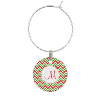 Monogram Red and Green Chevron Pattern Christmas Wine Glass Charms