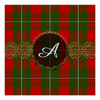Monogram Red And Green Christmas Plaid Poster