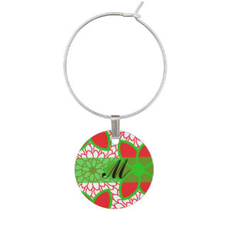 Monogram Red and Green Modern Floral Christmas Wine Charms