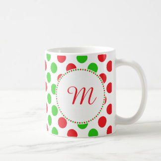 Monogram Red and Green Polka Dot Pattern Christmas Coffee Mug
