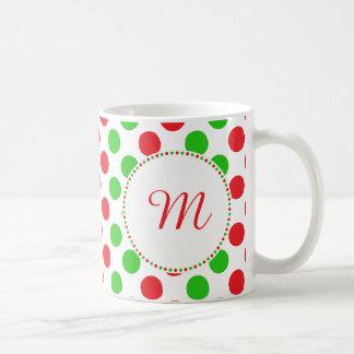 Monogram Red and Green Polka Dot Pattern Christmas Coffee Mug