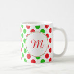 Monogram Red and Green Polka Dot Pattern Christmas Classic White Coffee Mug
