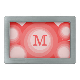 Monogram Red and Pink Circles Rectangular Belt Buckle