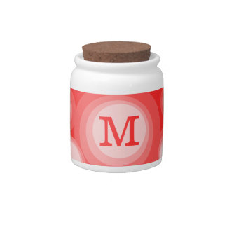 Monogram Red and Pink Circles Candy Jars