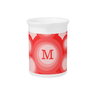 Monogram Red and Pink Circles Pitcher