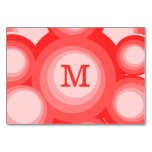 Monogram Red and Pink rings Table Card