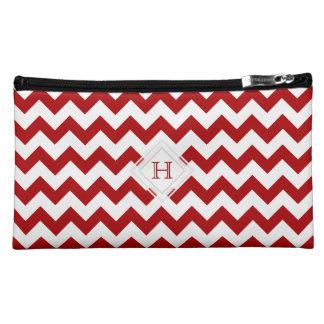 Monogram: Red And White Chevron Pattern Bag