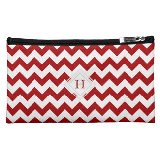 Monogram: Red And White Chevron Pattern Bag Makeup Bag