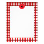 Monogram Red and White Gingham Pattern Personalized Letterhead