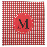 Monogram Red and White Gingham Pattern Cloth Napkin