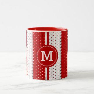 Monogram Red and White Polka Dots Two-Tone Coffee Mug