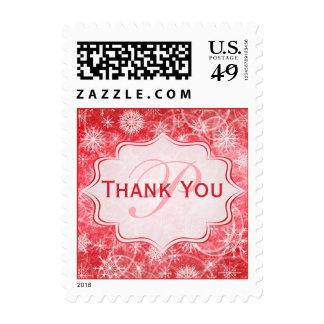 Monogram Red and White Snow Flake Thankyou Postage